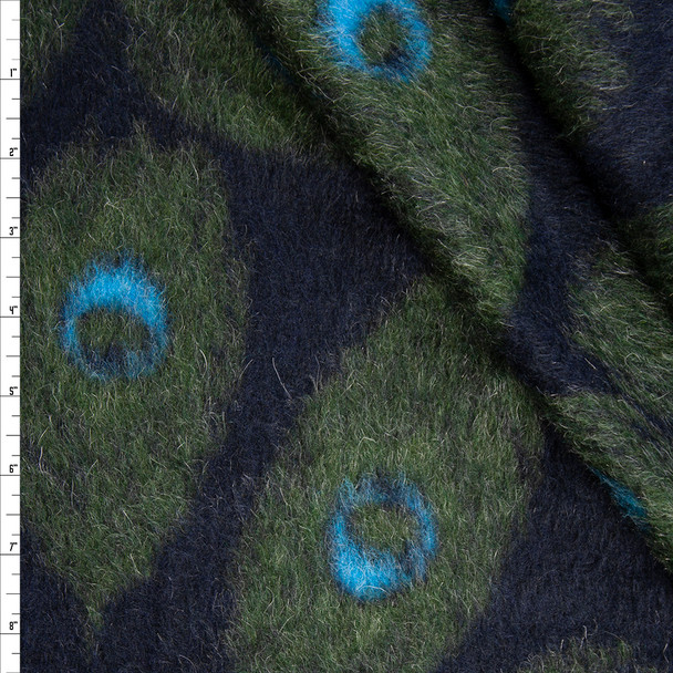 Olive, Black, and Turquoise Peacock Feather Wool Coating Fabric By The Yard