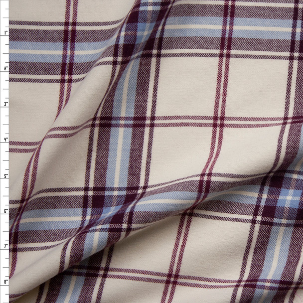 Burgundy, Grey, and Ivory Plaid Cotton Flannel Fabric By The Yard