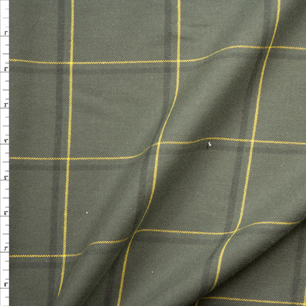 Olive, Forest, and Yellow Plaid Cotton Flannel Fabric By The Yard