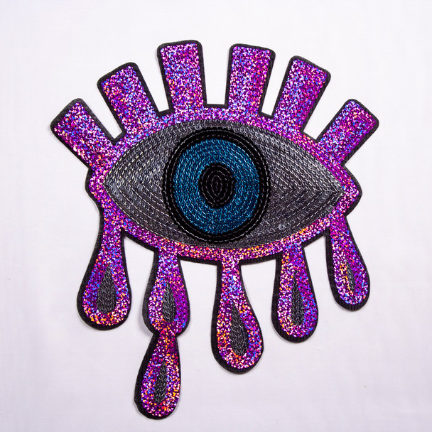 Fuschia, Silver, and Turquoise Eye Sequined Iron-on Appliqué Fabric By The Yard