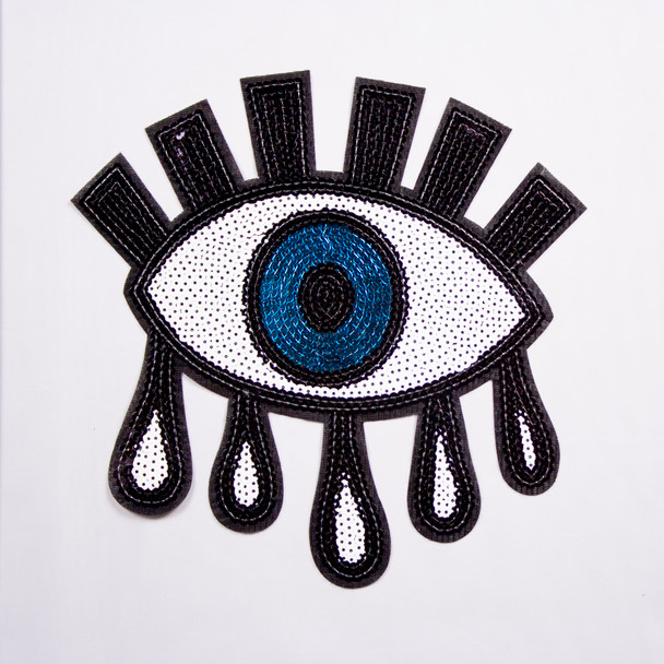 Black, White, and Turquoise Eye Sequined Iron-on Appliqué Fabric By The Yard