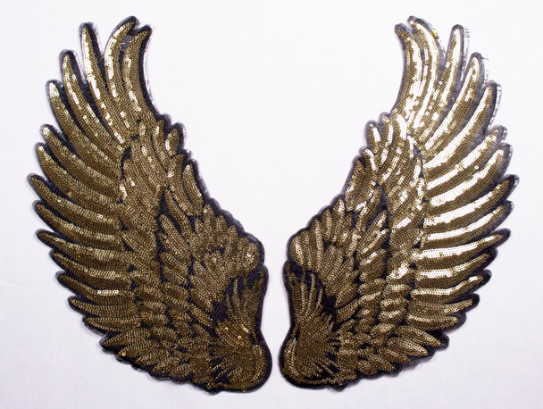Gold Wings Iron-on Appliqué Fabric By The Yard