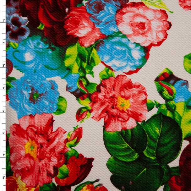 Vibrant Floral on Offwhite Bullet Textured Liverpool Print Fabric By The Yard