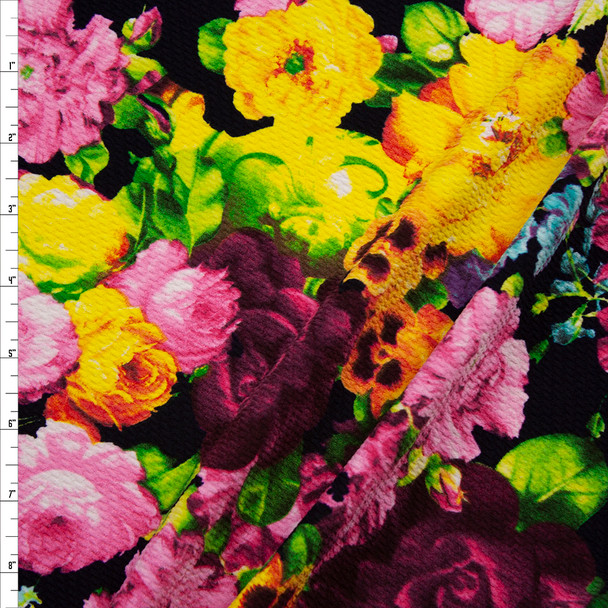 Vibrant Floral on Black Bullet Textured Liverpool Print Fabric By The Yard