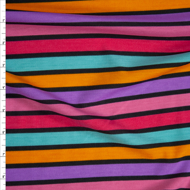 Hot Pink, Purple, Orange, and Teal Banded Stripe French Terry Fabric By The Yard