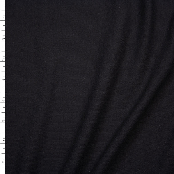 Black Light Midweight Stretch Cotton French Terry Fabric By The Yard