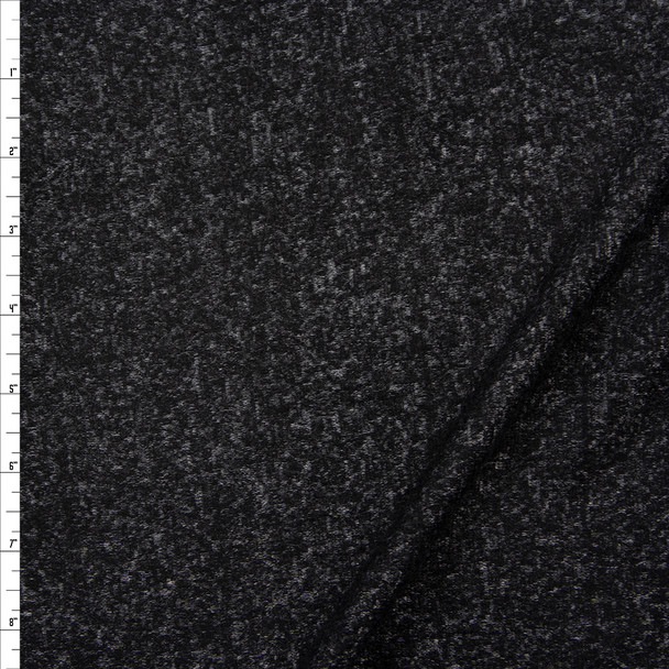 Black and Grey Mottled Soft Brushed Stretch Sweater Knit Fabric By The Yard