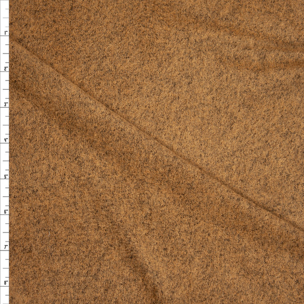Camel and Grey Mottled Soft Brushed Stretch Sweater Knit Fabric By The Yard
