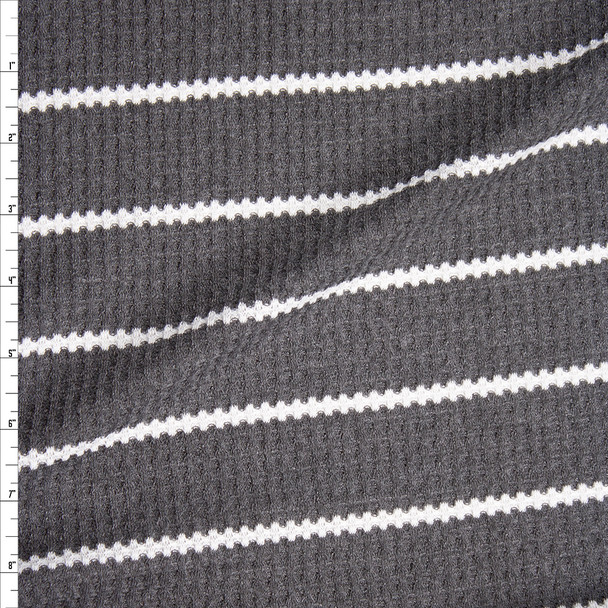 White on Charcoal Grey Horizontal Stripe Soft Waffle Knit Fabric By The Yard