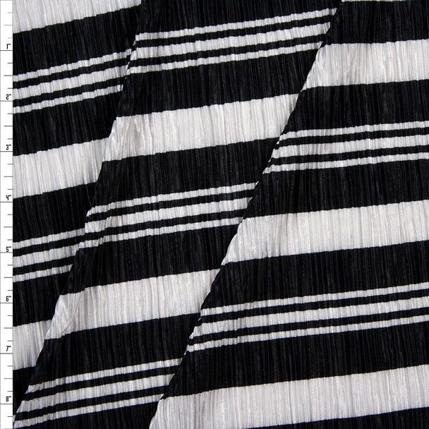 Black and White Striped Accordion Knit Fabric By The Yard