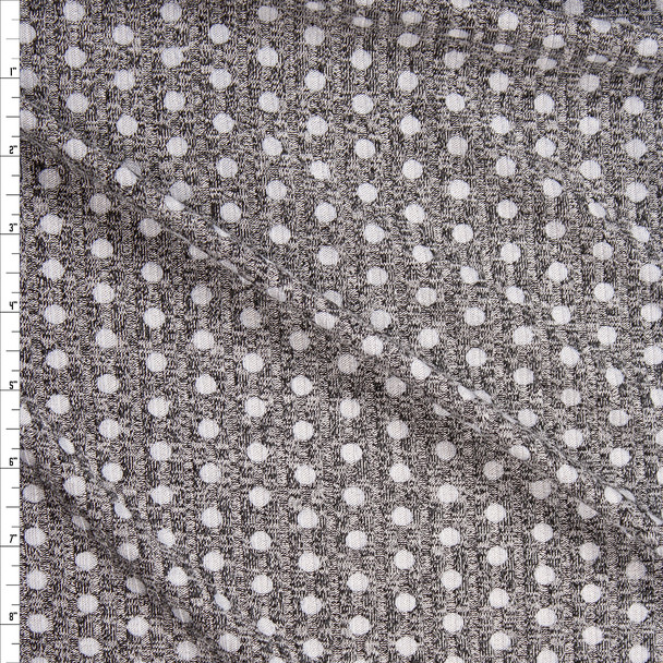 White Polka Dots on Mottled Gray Designer Ribbed Sweater Knit Fabric By The Yard