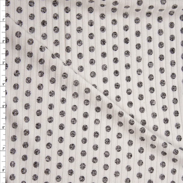 Mottled Gray on Ivory Polka Dot Designer Ribbed Sweater Knit Fabric By The Yard
