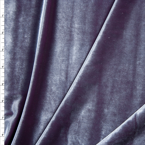 Slate Blue on Plum Two Tone Stretch Velvet Fabric By The Yard