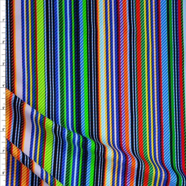 Multi Color Vertical Varied Stripe Premium Nylon/Spandex Fabric By The Yard