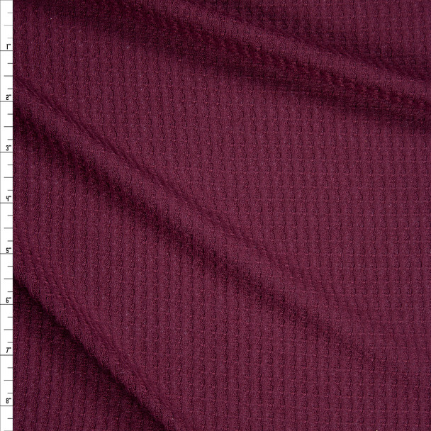 Deep Cranberry Soft Waffle Sweater Knit Fabric By The Yard