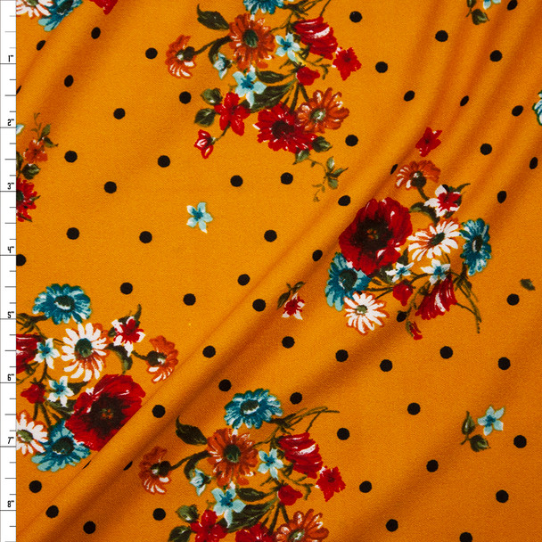 Red, Teal, and Rust Floral Clusters Black on Dijon Midweight Crepe Knit Fabric By The Yard