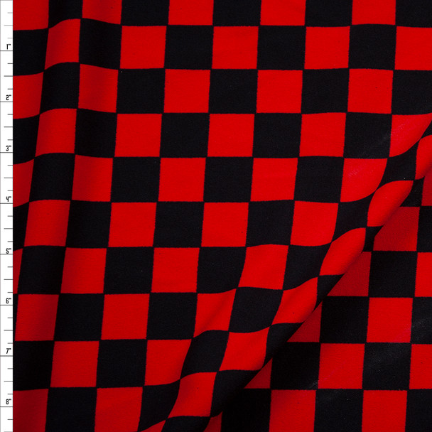 Black and Red Checkers Midweight Crepe Knit Fabric By The Yard