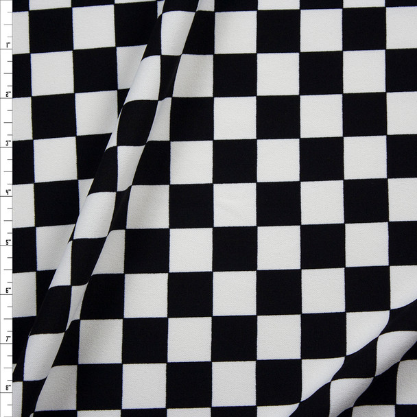 Black and White Checkers Midweight Crepe Knit Fabric By The Yard