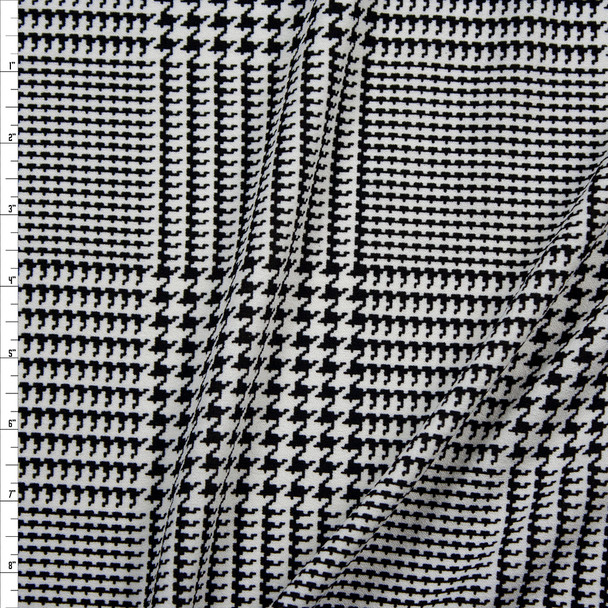 Black and White Houndstooth Plaid Midweight Crepe Knit Fabric By The Yard