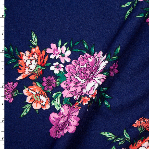 Red, Green, and Purple Floral on Navy Blue Midweight Crepe Knit Fabric By The Yard