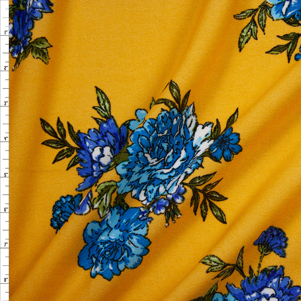 Turquoise and Blue Floral on Mustard Midweight Crepe Knit Fabric By The Yard