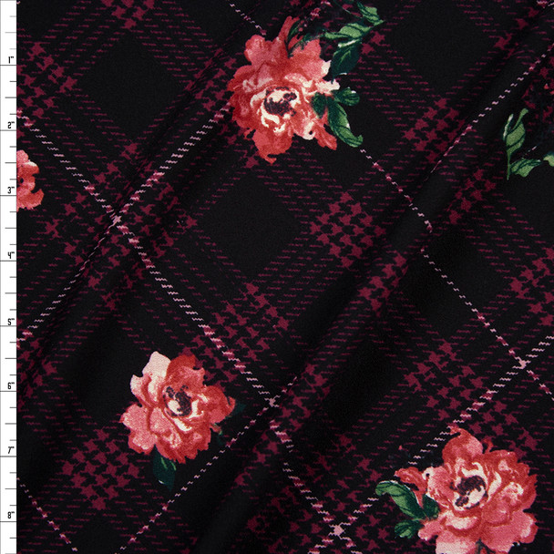 Pink and Green Flowers on Plum, Black, and Wine Argyle Midweight Crepe Knit Fabric By The Yard