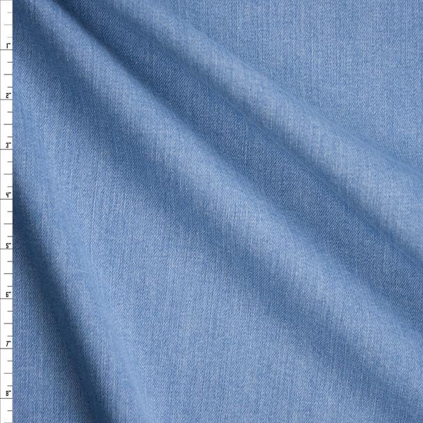 Light Blue Washed Designer Stretch Denim Fabric By The Yard