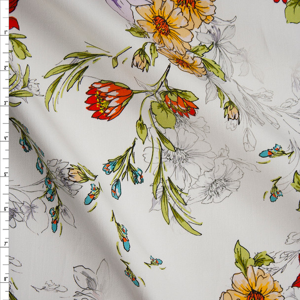 Lavender, Yellow, and Orange Sketchbook Flowers on White Designer Stretch Sateen Fabric By The Yard