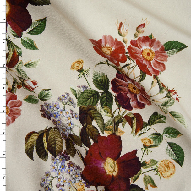 Wine and Butter Yellow Floral on Ivory Designer Stretch Sateen Fabric By The Yard