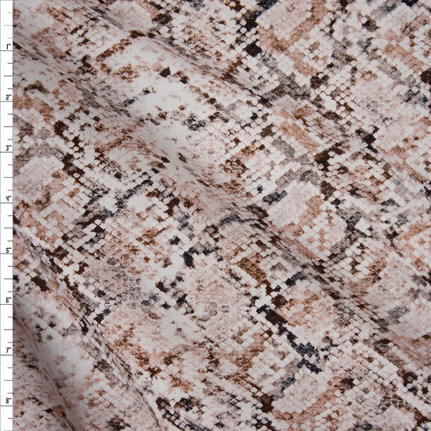 Blush, Tan, and Offwhite Snakeskin Designer Stretch Sateen Fabric By The Yard