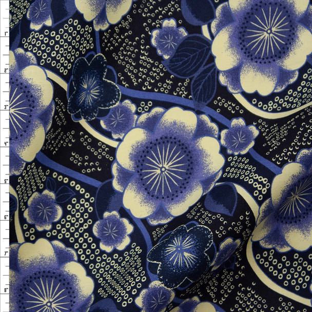 Ivory and Blue Diagonal Swirling Floral Designer Cotton Twill Fabric By The Yard