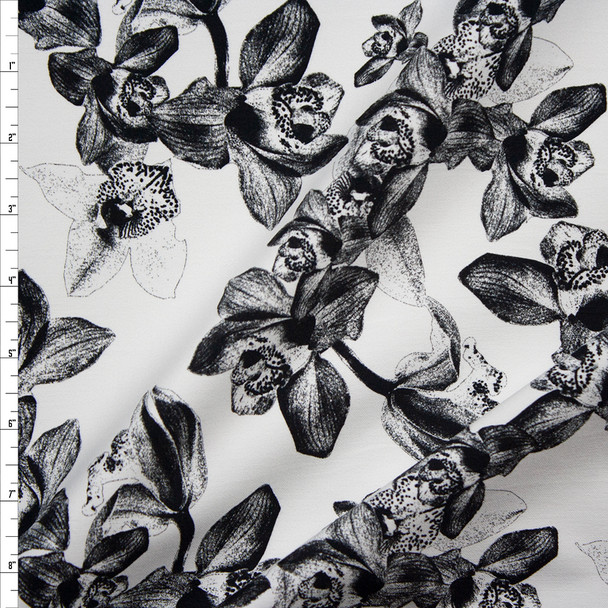 Black and White Floral on White Designer Stretch Sateen Fabric By The Yard