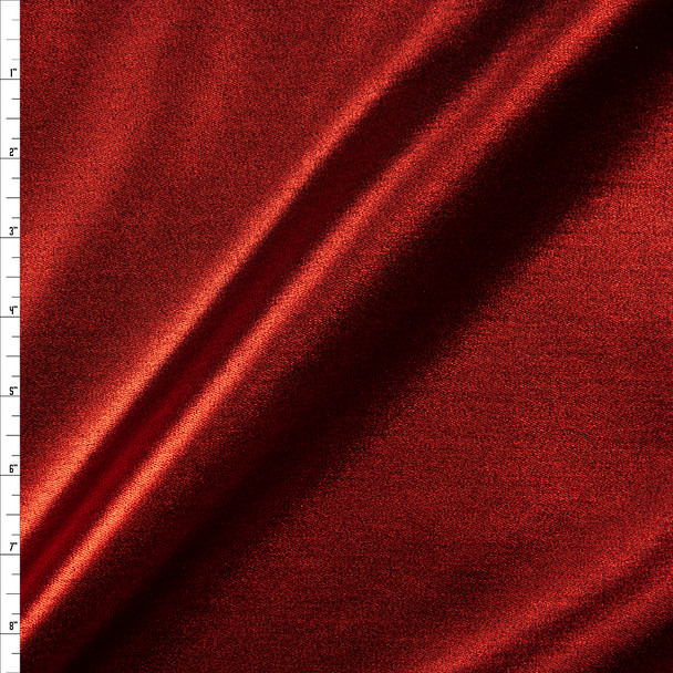 Metallic Red Designer Stretch Denim Fabric By The Yard
