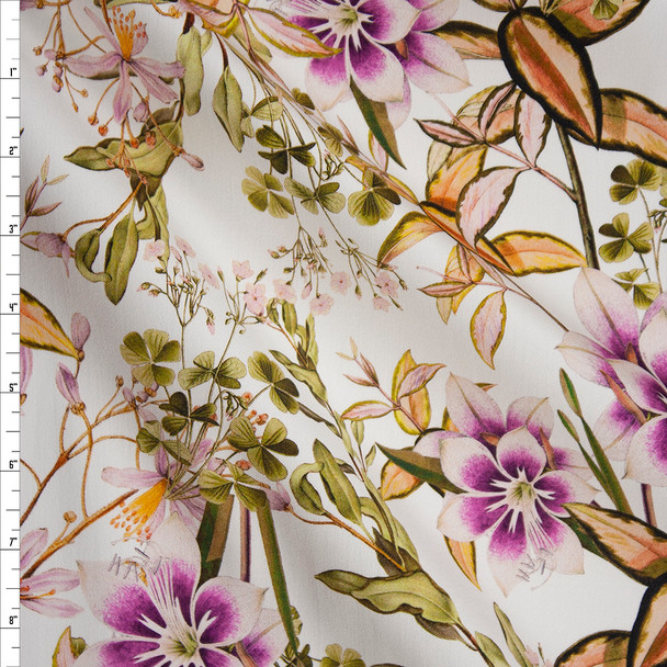 Plum and Lilac Floral on White Designer Stretch Sateen Fabric By The Yard