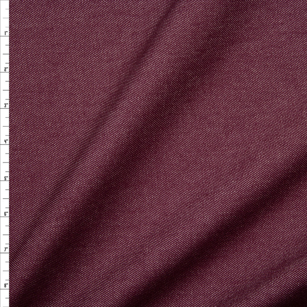 Wine 12oz Designer Denim Fabric By The Yard