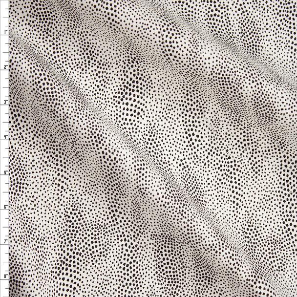 Black Wavy Dot Pattern on White Designer Stretch Twill Fabric By The Yard