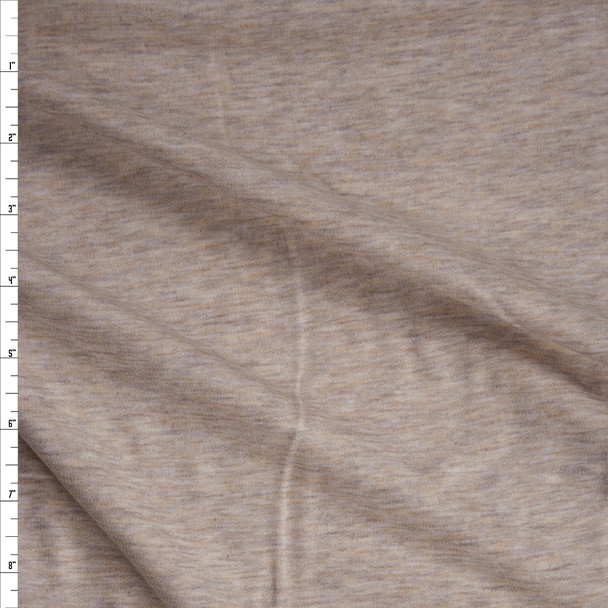 Tan Heather Soft Light Midweight Sweatshirt Fleece Fabric By The Yard
