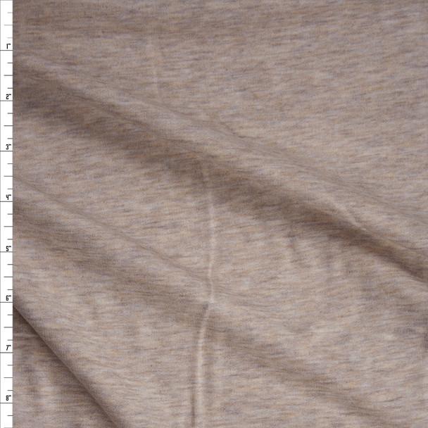 Tan Heather Soft Light Midweight Sweatshirt Fleece Fabric By The Yard