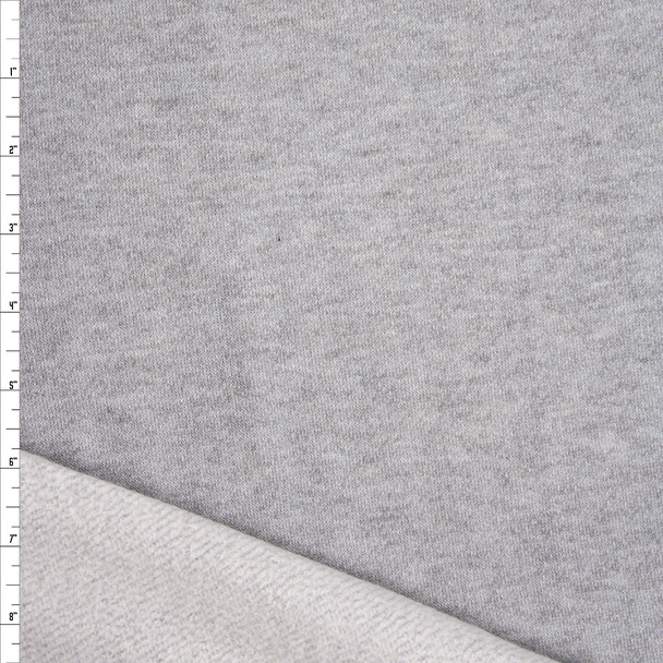 Heather Grey Brushed Loop French Terry Fabric By The Yard