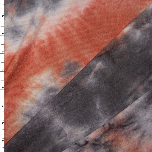 Rust, Charcoal, and White Tie Dye Stretch Rayon Jersey Fabric By The Yard