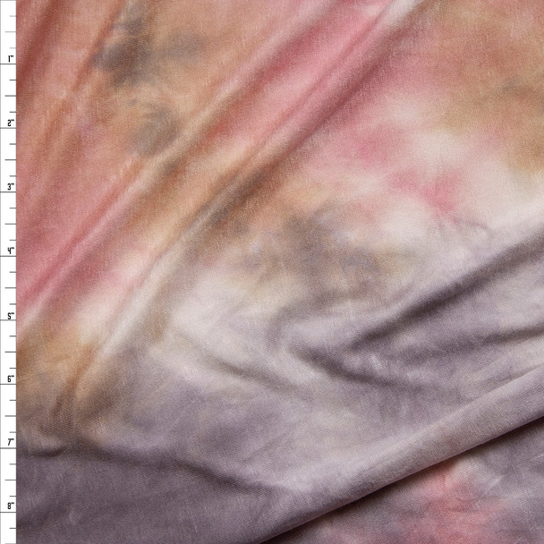 Grey, Dusty Pink, Tan, and White Tie Dye Stretch Rayon Jersey Fabric By The Yard