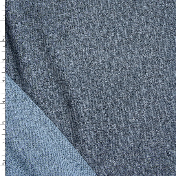 Teal Grey Stretch Rayon French Terry Fabric By The Yard