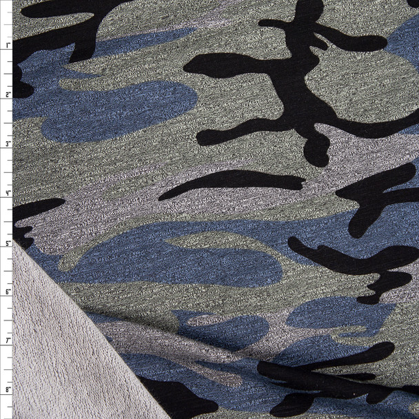 Slate, Black, and Grey Camouflage Stretch Rayon French Terry Fabric By The Yard