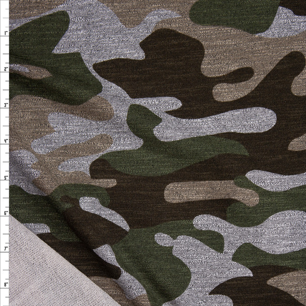 Olive, Brown, Tan, and Grey Camouflage Stretch Rayon French Terry Fabric By The Yard