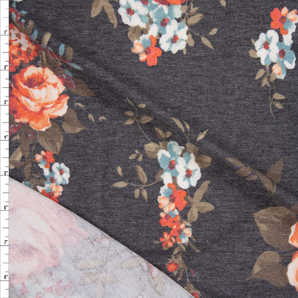 Red Orange, Blue, and Tan Rose Floral on Charcoal Heather Stretch Rayon French Terry Fabric By The Yard