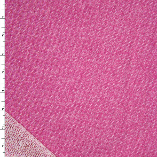 Bright Pink Cotton French Terry Fabric By The Yard