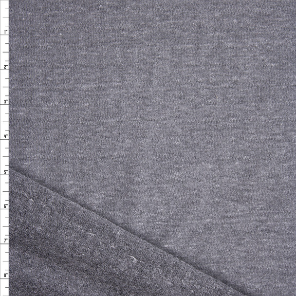 Grey Heather Soft Extra Wide French Terry Fabric By The Yard