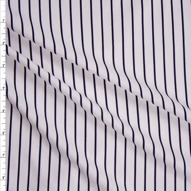 Navy on Offwhite Vertical Stripe Double Brushed Poly/Spandex Fabric By The Yard