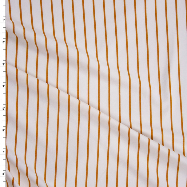 Mustard on Offwhite Vertical Stripe Double Brushed Poly/Spandex Fabric By The Yard