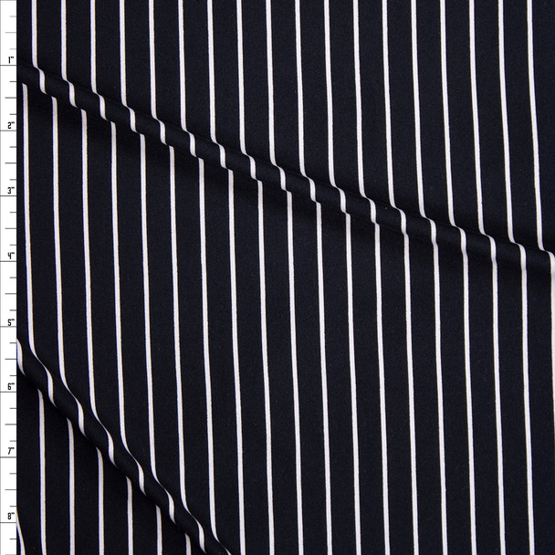 White on Black Vertical Stripe Double Brushed Poly/Spandex Fabric By The Yard